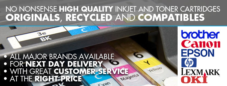 All major brands of ink and toner. Brother, Canon, Epson, HP, Lexmark, Oki.